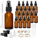 20 Pack 1oz 30 ml Amber Glass Spray Bottles with Fine Mist Sprayer & Dust Cap for Essential Oils, Perfumes,Cleaning…