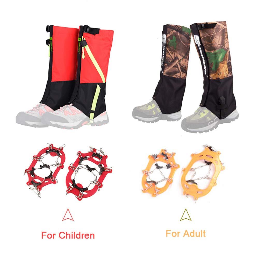 Explopur Kits de gu/êtres de Jambe pour Crampons de Glace pour Adultes//Enfants Grips de Neige