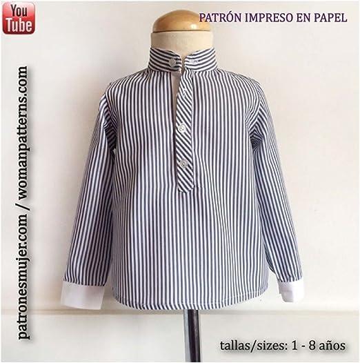 Patrón de costura camisa niño con cuello mao, con vídeo-tutorial para realizarlo. Talla 1 a 8 años. Patrón multitalla en papel.: Amazon.es: Hogar