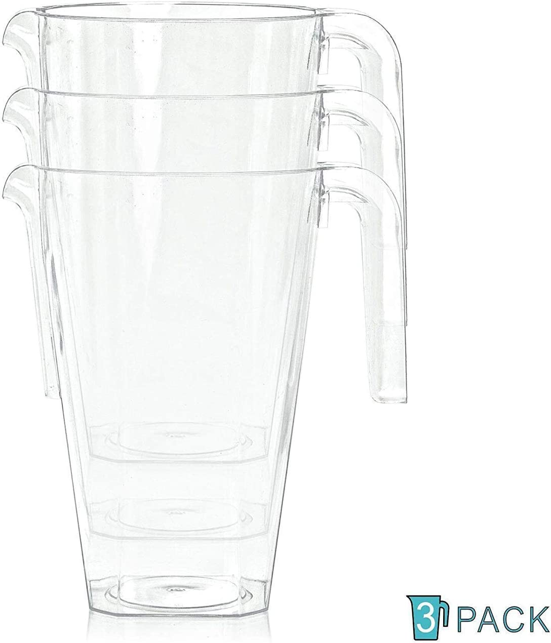 1200 ml transparent 3 St/ück 1,2 L langlebig Kunststoff-Krug f/ür Partys wiederverwendbar