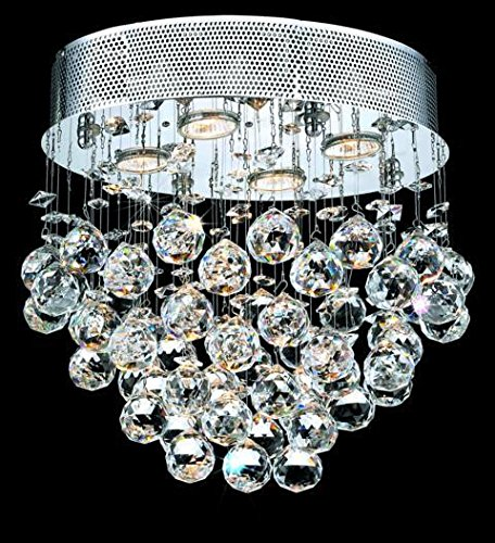 Bernadette Chrome Contemporary 4-Light Flush Mount Heirloom Handcut Crystal in Crystal (Clear)-1719F16C-RC--11.5