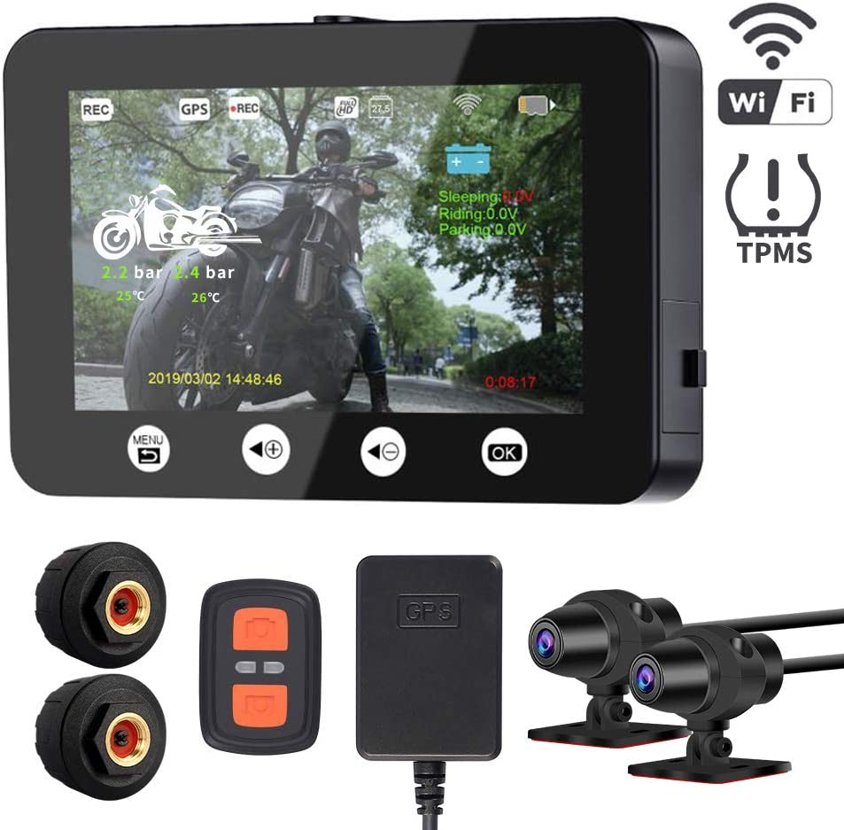 VSYSTO Motorcycle Recording Dash cam Dual Front & Rear 1080P Backup Camera with GPS WiFi 150° Wide TPMS Tire Pressure Monitor System