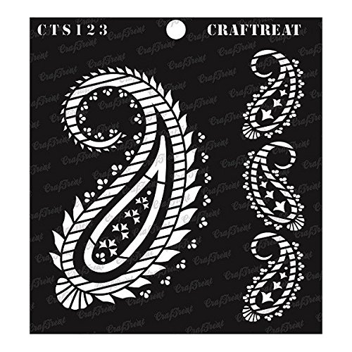 (CrafTreat Stencil - Paisley and Border | Reusable Painting Template for Journal, Notebook, Home Decor, Crafting, DIY Albums, Scrapbook and Printing on Paper, Floor, Wall, Tile, Fabric, Wood)