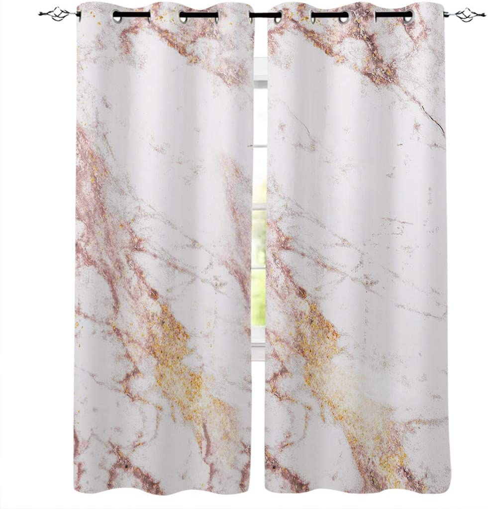 LOVE HOME DAY Window Curtains Treatments 2 Panels Set, Marble Stone Privacy Drapes Curtain for Bedroom Living Room Sliding Glass Door Decor Elegant Rose Gold 40×63in×2