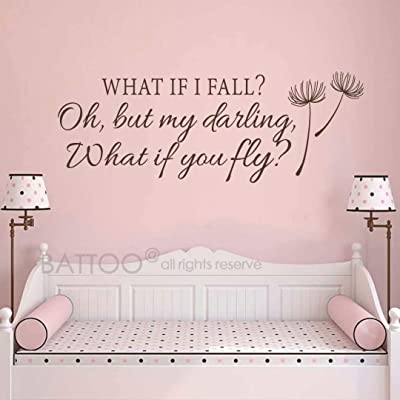 "BATTOO What If I Fall Oh My Darling What If You Fly Wall Decal Quote- Inspirational Quote- Bedroom Decor- Nursery Wall Decal for Girls Room Decor(Dark Brown 22"" WX8 H): Home & Kitchen"