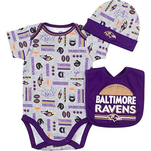 シフト毛皮ポテトNFL Baltimore Ravensボディスーツ、よだれかけ&キャップセット3ピース、0 – 3 Months、グレー
