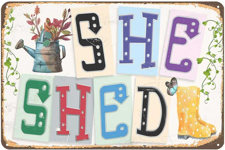 Jacevoo She Shed -Metal Sign Vintage Decor Home Garden Patio Wall Decoration Woman Cave Sign 8x12 Inch