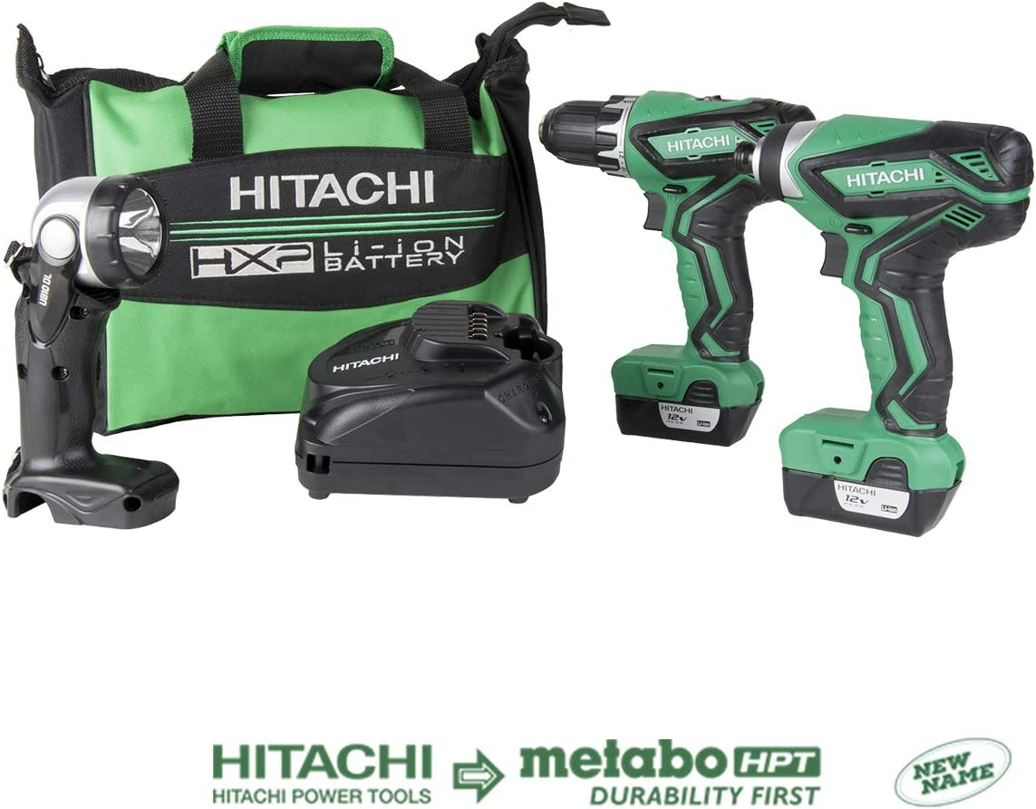 Hitachi KC10DFL2 12-Volt Peak Cordless Lithium Ion Driver Drill and Impact Driver Combo Kit Lifetime Tool Warranty