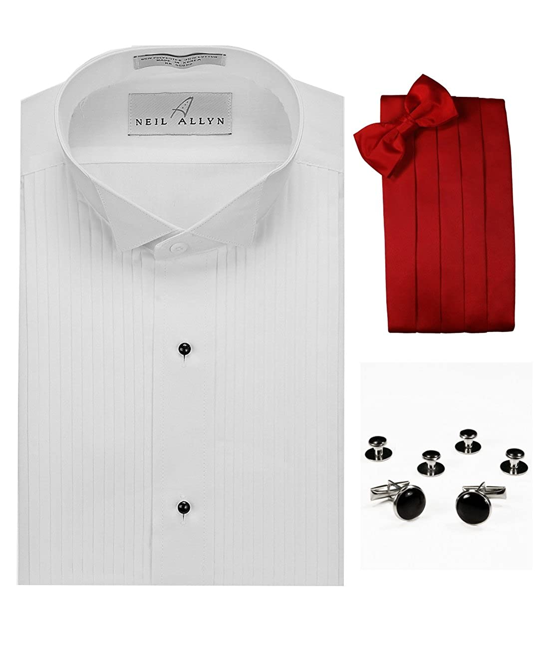 Neil Allyn Wing Collar Tuxedo Shirt, Red Cummerbund, Bow-Tie, Cuff Links & Studs Set