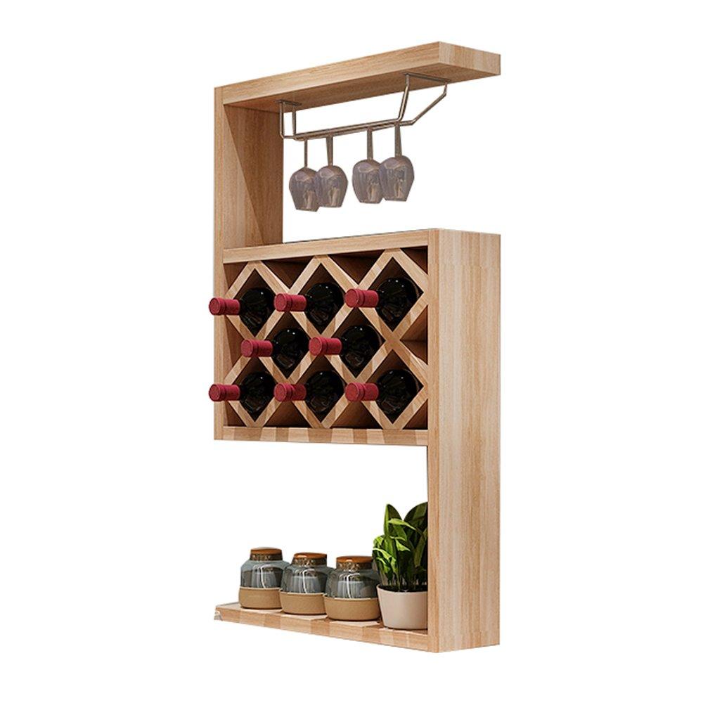 Super Kh® ワインキャビネットモダンシンプルな壁掛けレストランウォールシェルフ - 木製リビングルームワインラックワインセラーワイングラスアップサイドラック3色サイズ50.7x23x107.7cm (色 : A) B07JNS5CC9 A