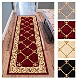 Patrician Trellis Red French European Formal Traditional 3x12 (2'7'' x 12') Runner Rug Stain/Fade Resistant Contemporary Floral Thick Soft Plush Hallway Entryway Living Dining Room Area Rug