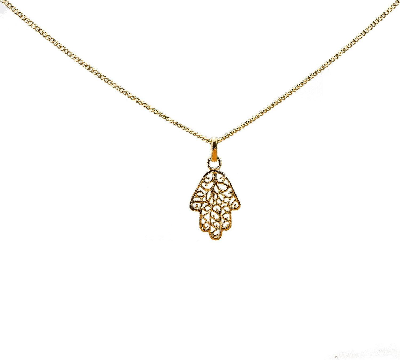 Colgante chapado en oro Hamsa Mano de Fátima Fatima con cadena de 45cm para mujer y recinto caja para abuela
