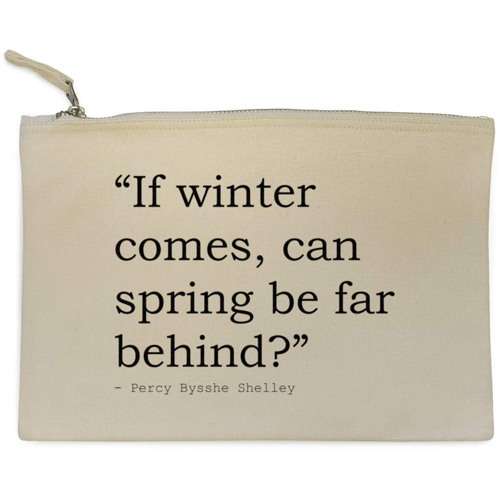 Stamp Press 'If winter comes, can spring be far behind?' Quote by Percy Bysshe Shelley Canvas Clutch Bag / Accessory Case (CL00010873) can spring be far behind?' Quote by Percy Bysshe Shelley Canvas Clutch Bag / Accessory Case (CL00010873)