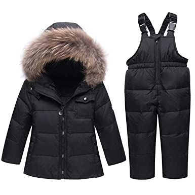 fce54feb Amazon.com: Winter Suits for Boys Girls Boys Ski Suit Children Clothing Set  Baby Duck Down Jacket Coat Overalls Warm Kids Snowsuit: Clothing