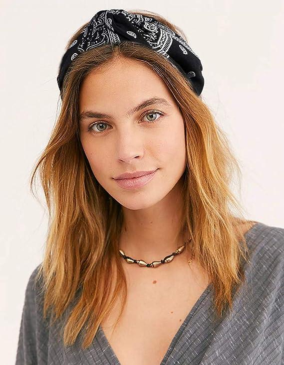 6 Pi/èces Imprim/é Headband Elastique pour Yoga Sports Pilates Fitness Vathery Vintage Fleur Bandeau Femme