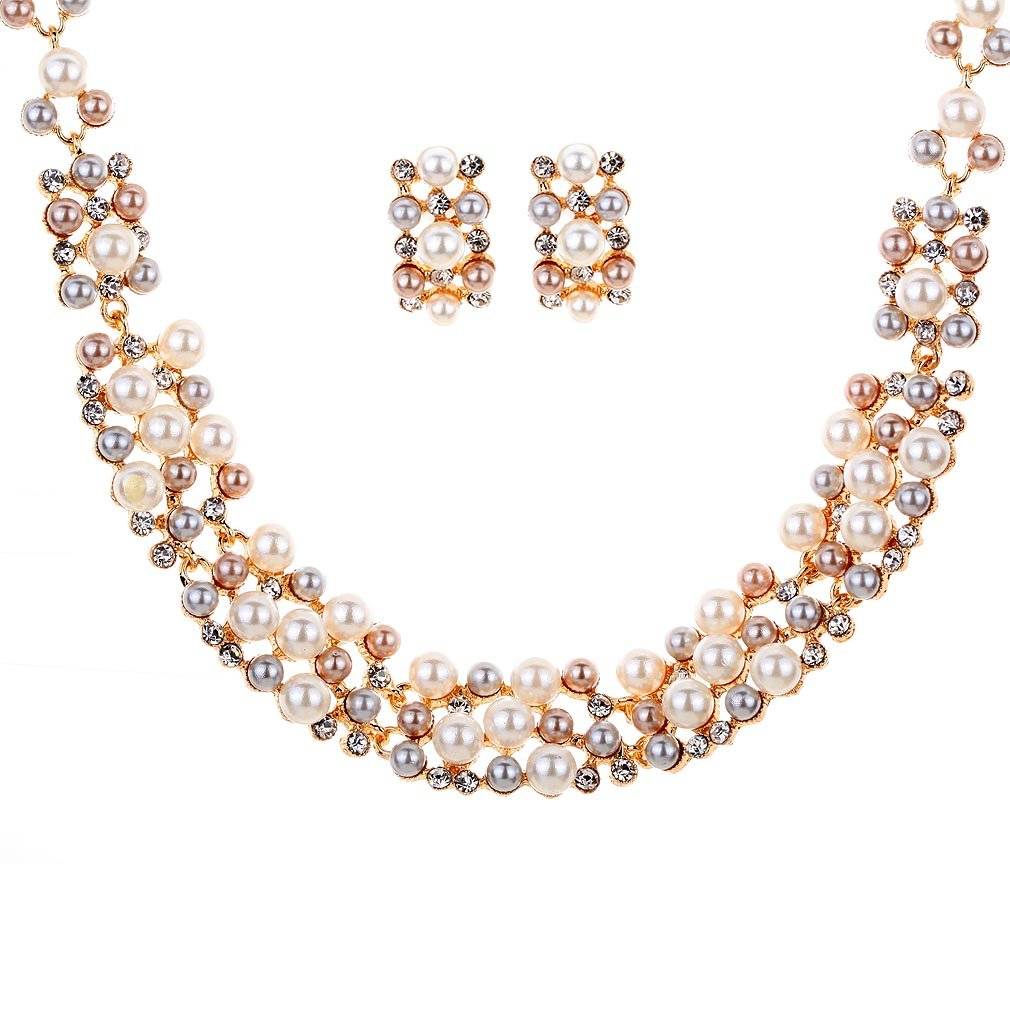 Yazilind Elegant Rose Gold Cream Faux Pearl Crystal Collar Chunky Bib Earrings Necklace Jewelry Set for Women Gift YAZILIND JEWELRY LTD 1075N001900