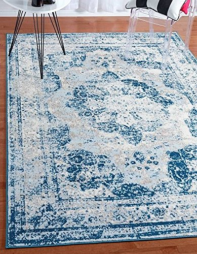 Unique Blue Border (Unique Loom Sofia Collection Blue 8 x 10 Area Rug (8' x 10'))