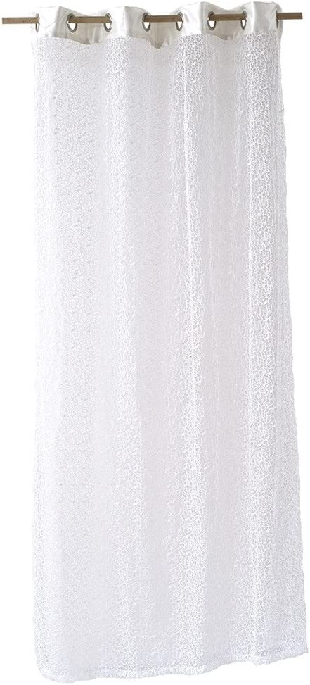 Time Concept Soothing Breeze Mesh Curtain Panel - White - Grommets Included, 100% Polyester, Multipurpose Drapery, Home & Living Room Decor