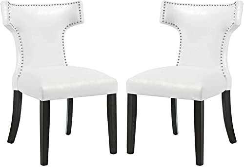 Modway Curve Dining Chair Vinyl Set of 2