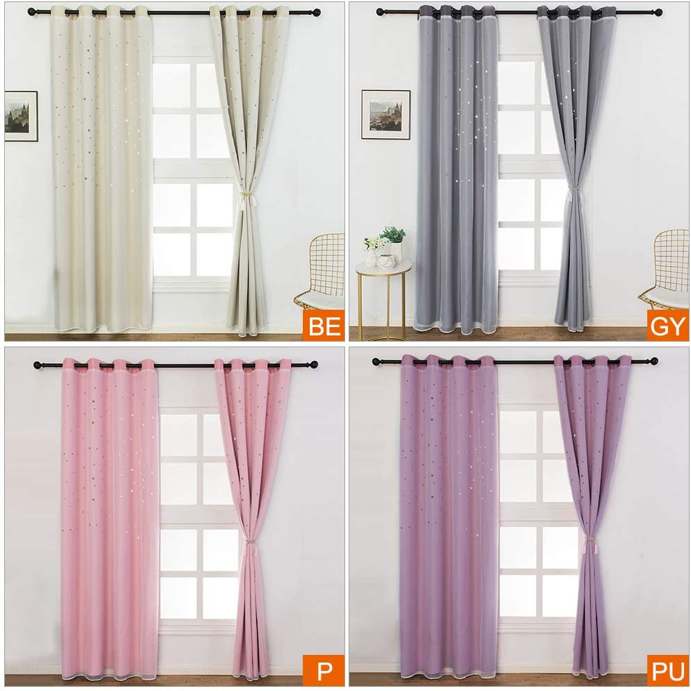 Walmeck Blackout Curtains Star Shape Hollow Double Layer Cloth Yarn Combination Thermal Insulating Room Darkening Curtains 39X98