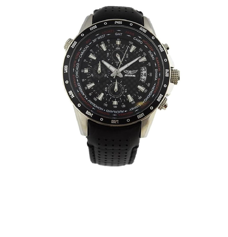 AVIATOR Herren Uhr Pilotenuhr Chronograph Weltzeituhr AVW7770G78 schwarz Leder