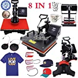 Iglobalbuy 8in1 T-shirt Digital Heat Press Machine Transfer Sublimation Hat Mug Cap Plate 15'' X 12''
