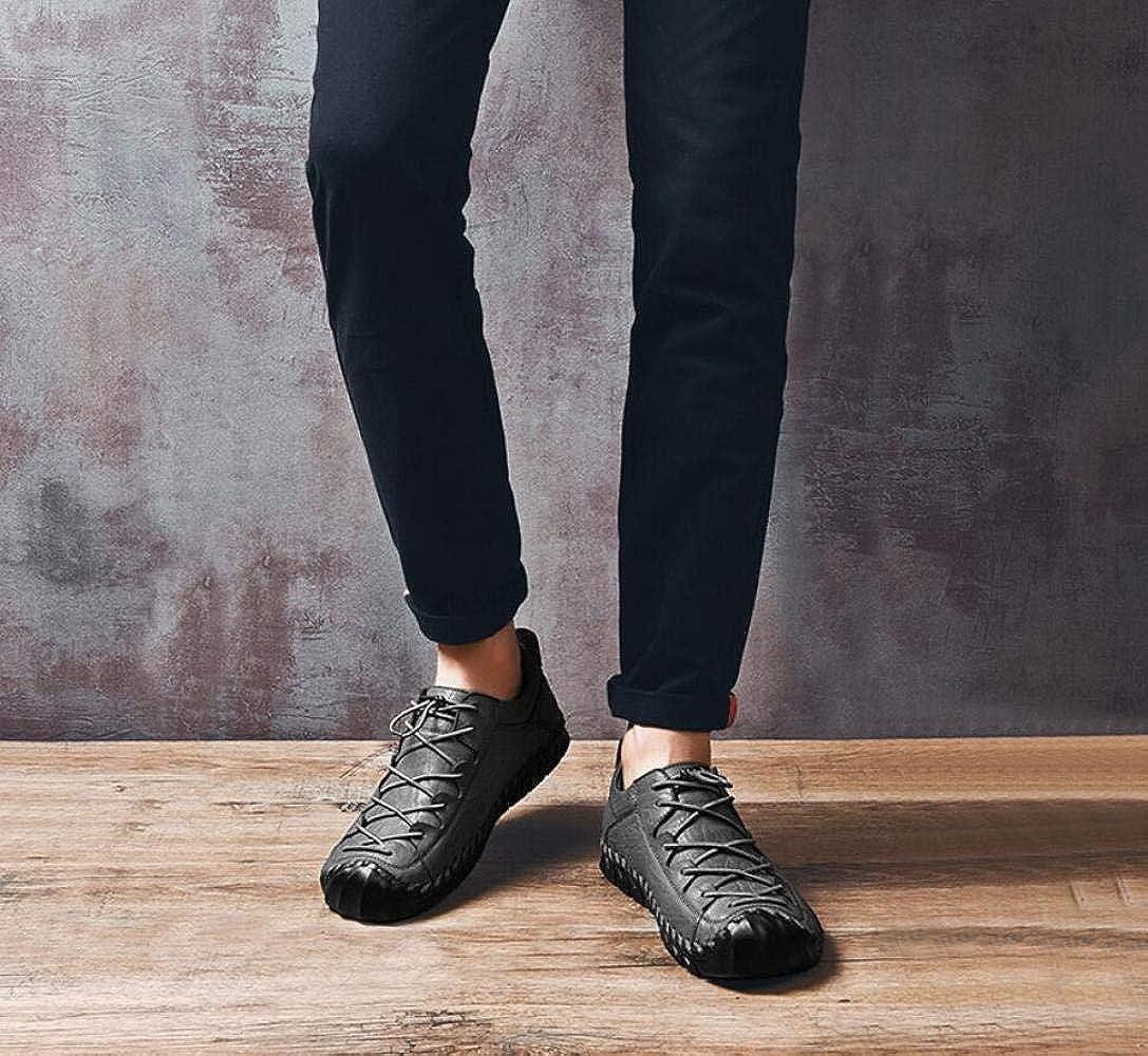 Männer täglich lässige handgenähte Flache Niedrig-Top-Schuhe Brett Atmungsaktive Leder-Fahr Schuhe Spitzen Brett Niedrig-Top-Schuhe Schuhe Gray c6cf77