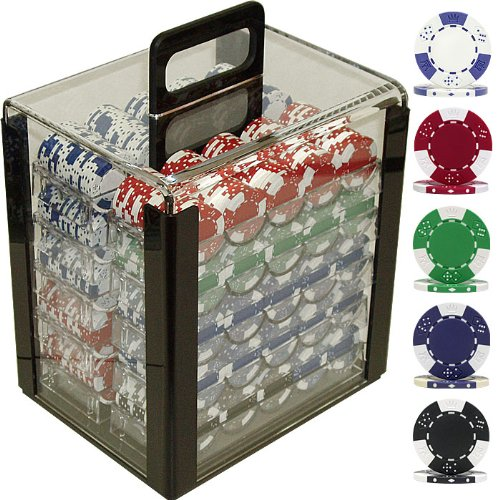 Lucky Crown Poker Chip Set in Acrylic Carrier (1000-Piece), 11.5gm
