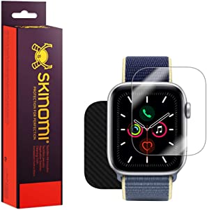 Skinomi Black Carbon Fiber Full Body Skin Compatible with Apple Watch Series 6 (44mm)(3-Pack)(Full Coverage) TechSkin with Anti-Bubble Clear Film Screen Protector