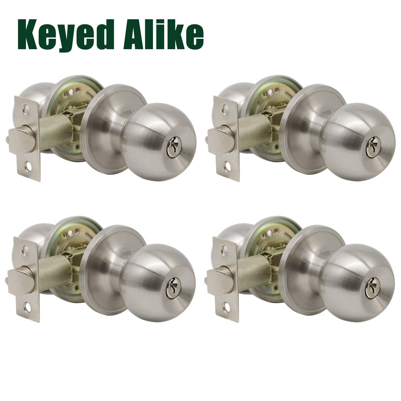 Probrico (4 Pack) keyed Alike Door Knobs Combo Pack, Entrance Lockset in Brushed Nickel, Entry Door Knobs, Gate Front Door Hardware, Indoor and Outdoor