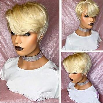 Amazon Com Brazilian Human Hair Pre Plucked Full Lace Wigs Blonde Short Pixie Cut Transparent Lace Front Wigs Bleached Knots Blonde 613 Full Lace Wig Beauty