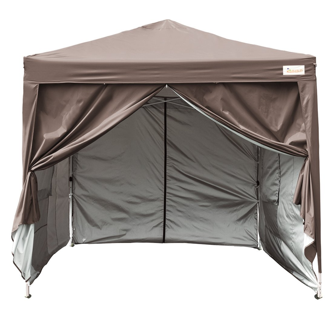 Kingbird 10x10 ft Easy Pop up Canopy Waterproof Party Tent 4 Removable Walls Mesh Windows with Carry Bag-7 Colors (coffee) by Kingbird