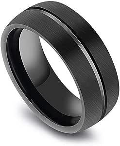 خاتم رجالي من التيتانيوم مطلي أسود بخط في المنتصف مقاس 11