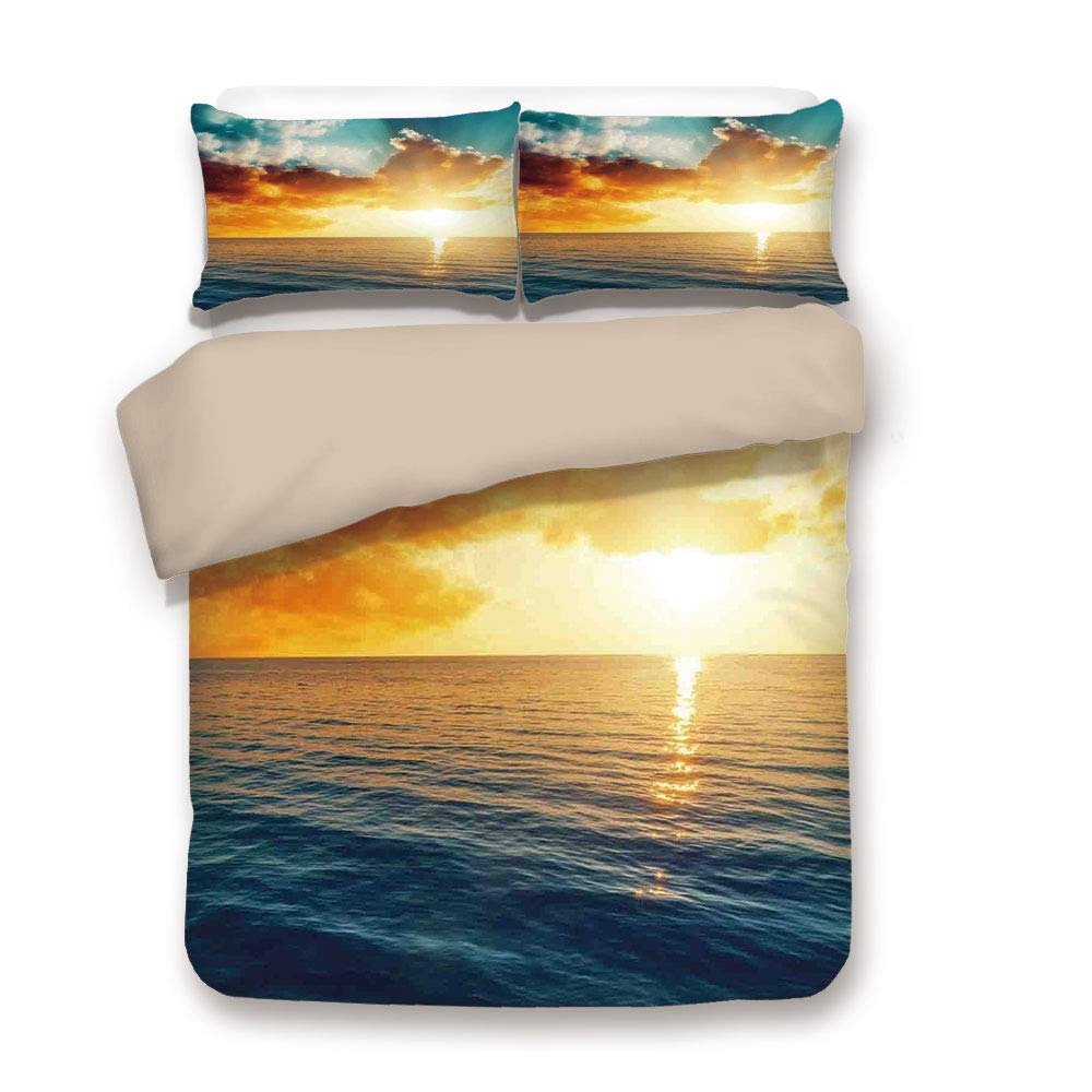 Gelb Blau Langzeitbelichtung Magisches Horizont-Panorama über dem Meer Dramatischer Himmel Abenddämmerung Gelassenheit Dekorativ 3 Stück Bettwäsche-Set von 2 Kissen S Sonnenuntergang Bettbezug-Set