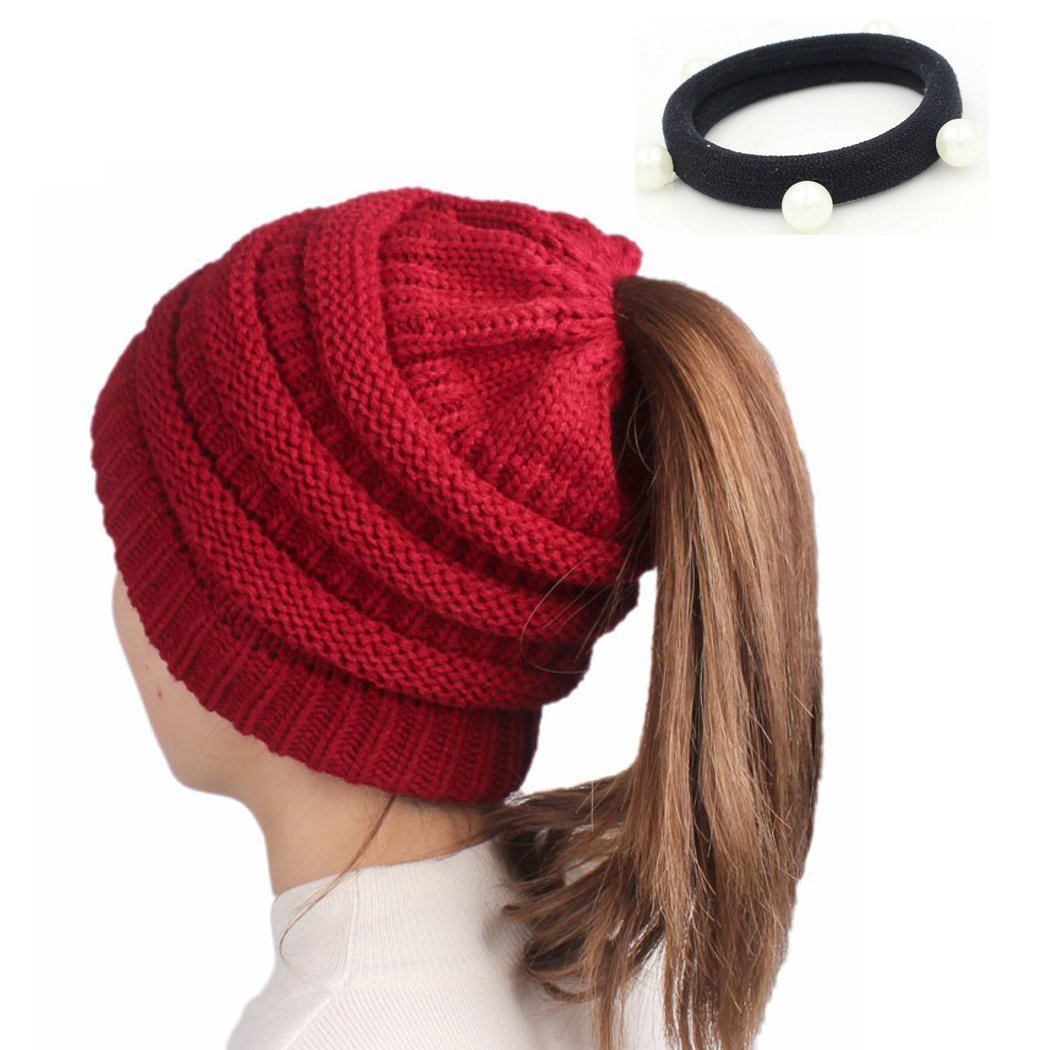 Winter Thick Knitted BeanieTail Soft Stretch Knit Messy High Bun Ponytail Beanie Hat TaoRong