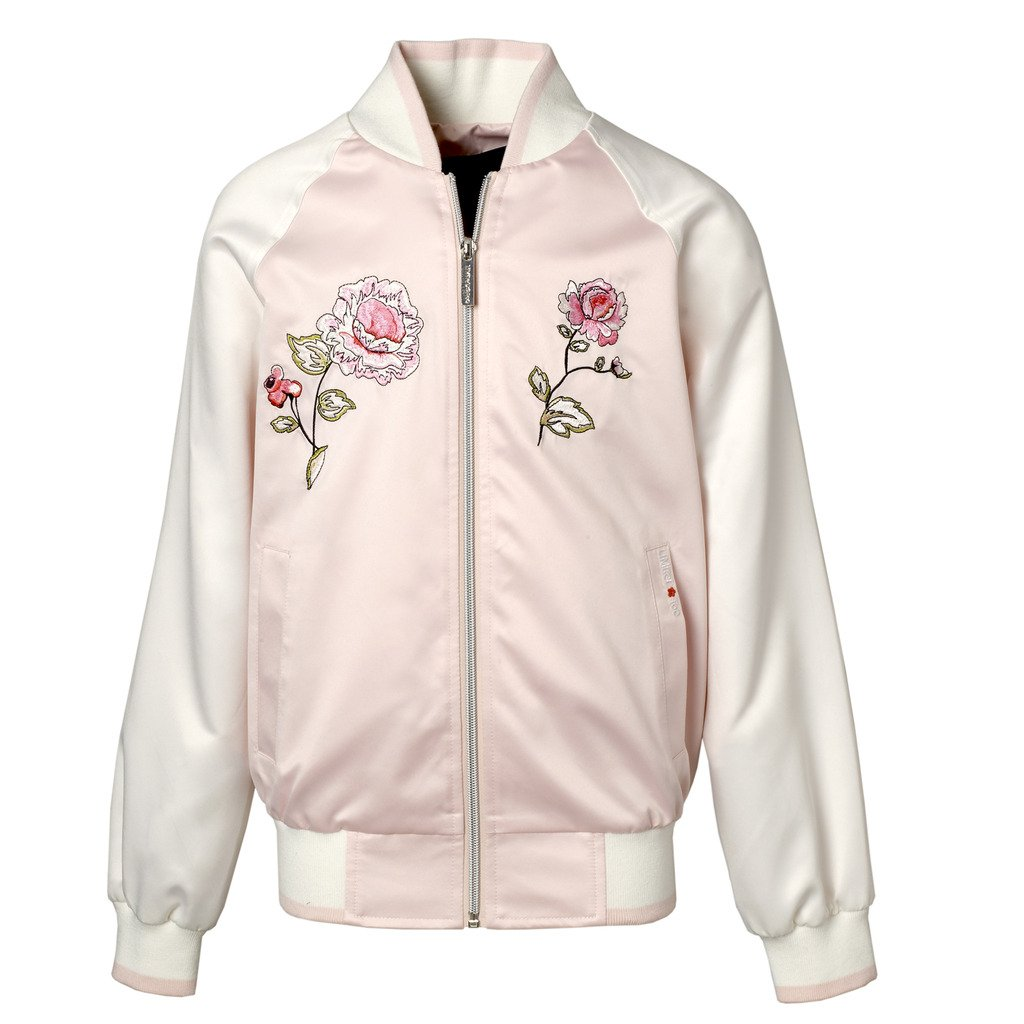 Limited Too Big & Little Girls Satin Souvenir Jacket With Flower Patches