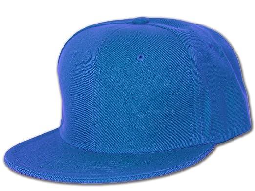 Plain Fitted Flat Bill Hat- Royal Blue at Amazon Men s Clothing store  b8e3afe2e03e