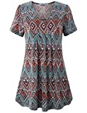 MOQIVGI Graphic Tunic, Ladies Vneck Stylish Modest Draped Blouse Spring Fashion Short Sleeve Top Trendy Country Style Summer Tshirt Aztec Print Clothing for Women Multicoloured Red XX-Large