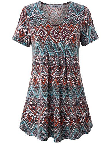 MOQIVGI Geometric Blouse, Womens Trendy Chevron Pattern Loose Flattering Tunic V Neck Short Sleeve Swing Long Tee Shirts Cute Trapeze Ethnic Printed Maternity Tops Multicoloured Red X-Large]()