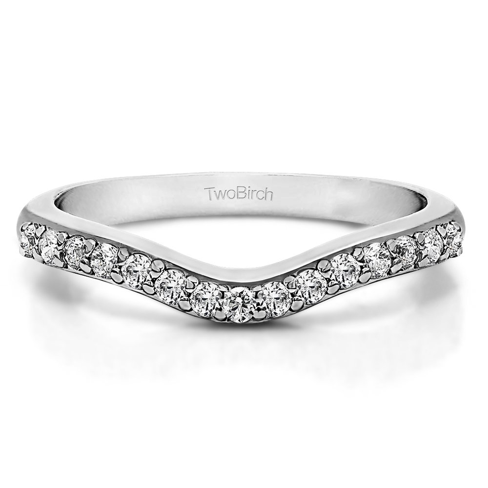 Cubic Zirconia Delicate Curved Wedding Ring In Sterling Silver(0.33Ct) Size 3 To 15 in 1/4 Size Interval TwoBirch TB-CR-0051-SICZWG-F-7