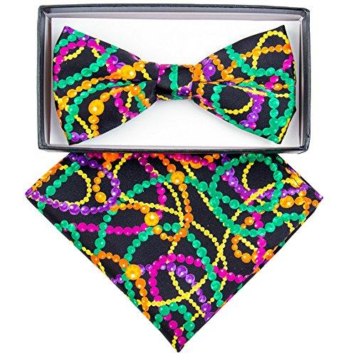 Mardi Gras Colorful Bead Printed Bow Tie and Handkerchief Set ()