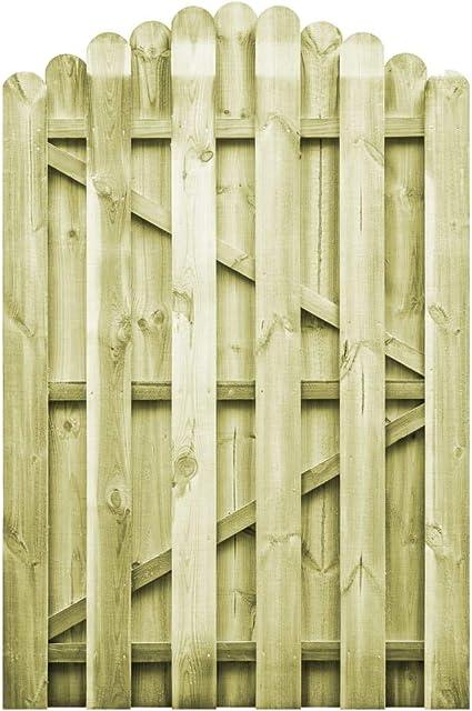 ghuanton Puerta de jardín Madera de Pino impregnada 100x150 cm arqueadaBricolaje Vallas de jardín Puertas de jardín: Amazon.es: Hogar