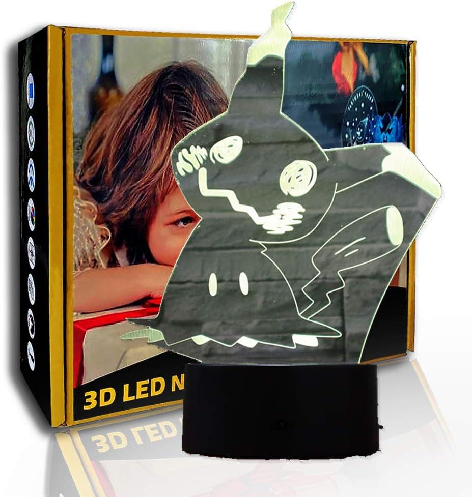 JINYI 3D Luz nocturna Cartoon Dizzy Pikachu, lámpara de ilusión LED, regalo para niños, F- Base de audio Bluetooth (5 colores), Regalo de Halloween, Luces decorativas