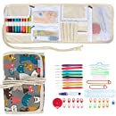 Teamoy Ergonomic Crochet Hooks Set, Canvas Wrap Organizer with 9pcs 2mm to 6mm Soft Grip Crochets and Accessories, Cute and Compact, Perfect Size for Quick Grab-and-Go.