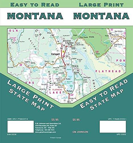 Montana Large Print, Montana State Map: GM Johnson ...