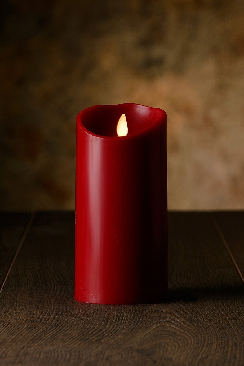Veraflame 7''H Cinnamon Scented Oblique Edge Moving Flame LED Wax Candle, Red