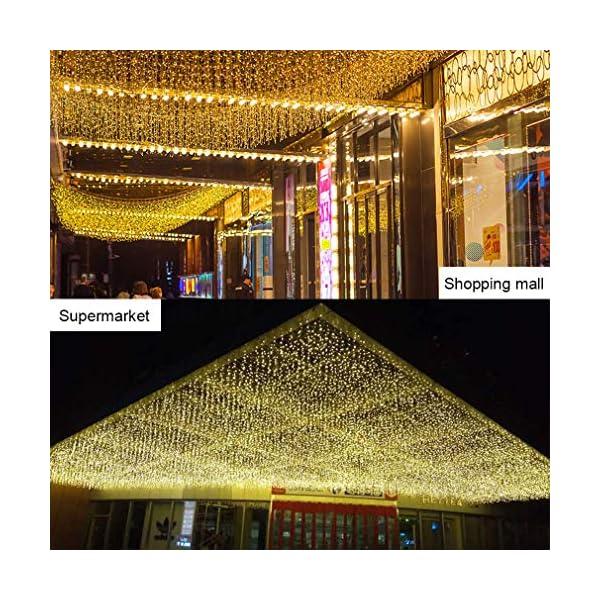 Elegear 4M Luci Natale Impermeabilità Tenda Luminosa Esterno Tenda Luci con 8 Programmi Decorazioni Natalizie per Balcone, Salotto, Giardino,Terrazza 4 spesavip