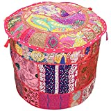 Stylo Culture Decorative Pouffe Floor Pillow Cover Round Patchwork Embroidered Pouf Ottoman Cover Pink Cotton Floral Traditional Furniture Footstool Seat Puff Cover (22x22x14)
