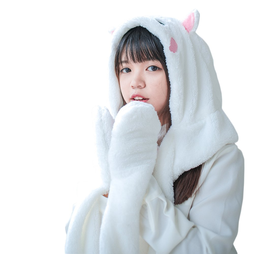 Rains Pan Multifunction Animal Cat Hoodie with Paw Ears Hat Scarf/&Mitten 3 in 1 Girls