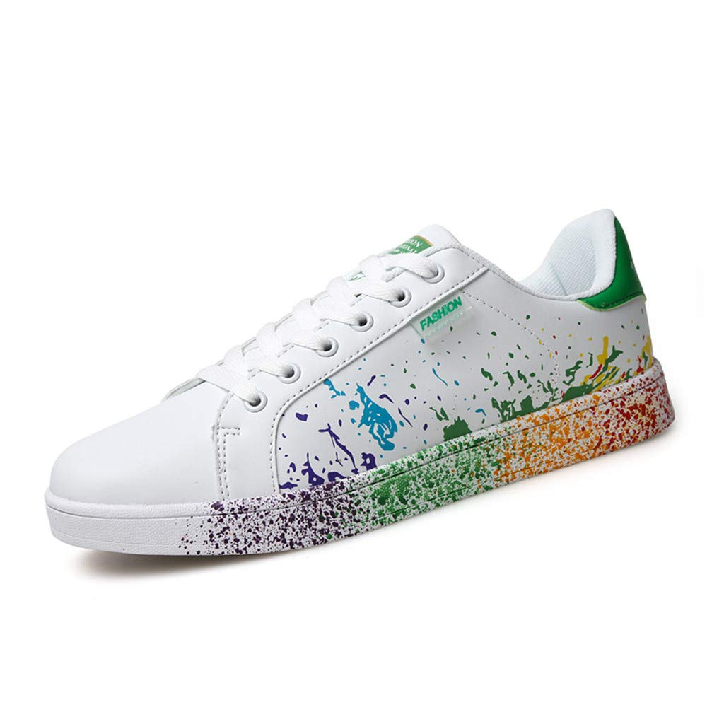 Adaogd Womens Fashion Couple Colorful White Shoes Mens Sport Board Shoes Sneakers